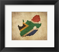Framed Map with Flag Overlay South Africa