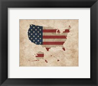 Framed Map with Flag Overlay United States