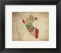 Framed Map with Flag Overlay Peru