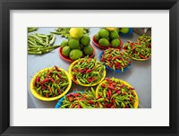 Framed Peppers, fruit and vegetable outdoor market, Suva, Fiji