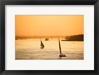 Framed Pair of Falukas and Sightseers on Nile River, Luxor, Egypt