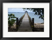 Framed Long wooden pier, Coral Coast, Viti Levu, Fiji, South Pacific