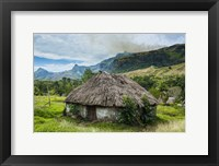 Framed Traditional thatched roofed huts in Navala in the Ba Highlands, Fiji