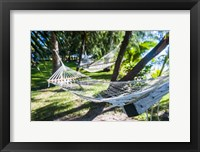 Framed Hammock on the beach, Nacula island, Yasawa, Fiji, South Pacific