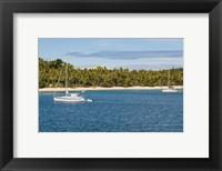 Framed Little sailboat in the blue lagoon, Yasawa, Fiji, South Pacific