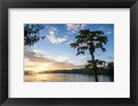 Framed Sunset over the beach of resort, Nacula Island, Yasawa, Fiji, South Pacific