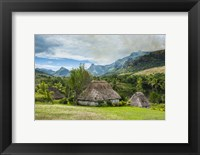 Framed Traditional thatched roofed huts in Navala in the Ba Highlands of Viti Levu, Fiji