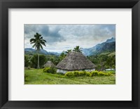 Framed Traditional thatched roofed huts in Navala, Fiji, South Pacific