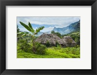 Framed Traditional thatched roofed huts in Navala, Fiji