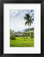 Framed Traditional thatched roofed huts in Navala in the Ba Highlands of Viti Levu, Fiji, South Pacific