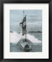 Framed World War I (1914-1918). The British submarine E-8. Sank a German destroyer in the North Sea