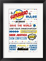 Framed Superhero Rules Typography
