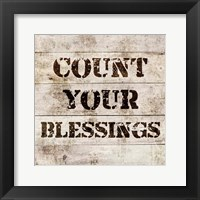 Framed Count Your Blessings In Wood