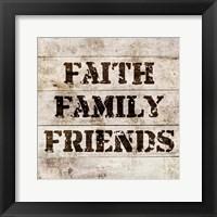 Framed Faith, Family, Friends In Wood