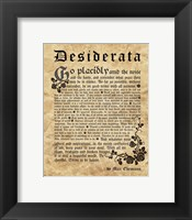 Framed Old English Desiderata