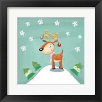 Framed Snowy Reindeer