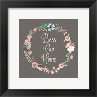 Framed Bless Our Home Floral Brown