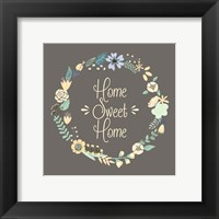 Framed Home Sweet Home Floral Brown