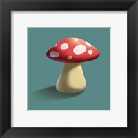Framed Mushroom on Teal Background Part I