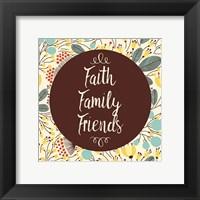 Framed Faith Family Friends Retro Floral White