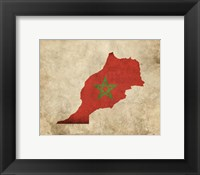 Framed Map with Flag Overlay Morocco