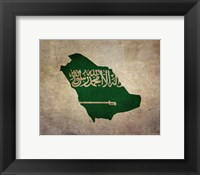 Framed Map with Flag Overlay Saudi Arabia
