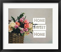 Framed Home Sweet Home Flower Basket Color