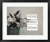 Framed Home Sweet Home Flower Basket Black and White