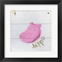 Framed Happy Pink Hippo