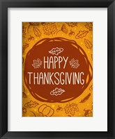 Framed Happy Thanksgiving Orange