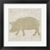 Framed Burlap Farm Animals 3
