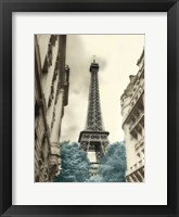 Framed Teal Eiffel Tower 1