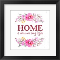 Framed Home Is Where Our Story Begins-Magenta