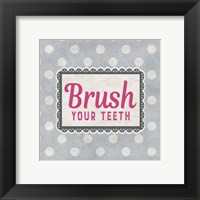 Framed Brush Your Teeth Gray Pattern