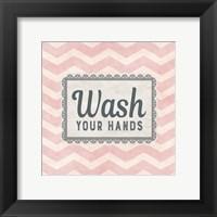 Framed Wash Your Hands Pink Pattern