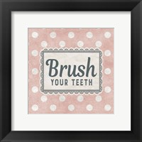 Framed Brush Your Teeth Pink Pattern