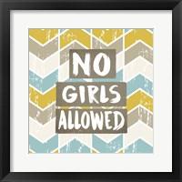 Framed No Girls Allowed Chevron Pattern Yellow