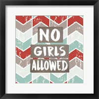 Framed No Girls Allowed Chevron Pattern Red