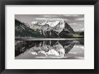 Framed Kananaskis Lake Reflection BW with Color