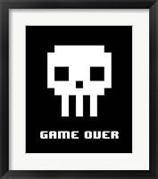 Framed Game Over  - White Skull