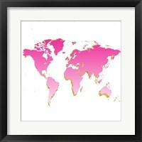 Framed World Map Pink & Gold