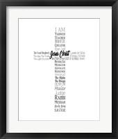 Framed Names of Jesus Cross Silhouette White