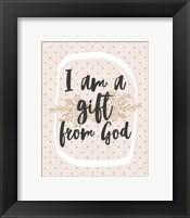 Framed I am a Gift from God Dot Pattern
