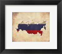 Framed Map with Flag Overlay Russia