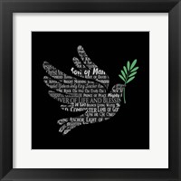Framed Names of Jesus Dove Silhouette Black