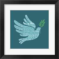Framed Names of Jesus Dove Silhouette Blue