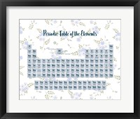 Framed Periodic Table Of The Elements Blue Floral