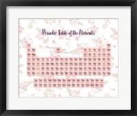 Framed Periodic Table Of The Elements Pink Floral