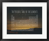 Framed Periodic Table Of The Elements Night Sky Green