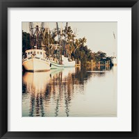 Framed Sepia Shrimp Boats